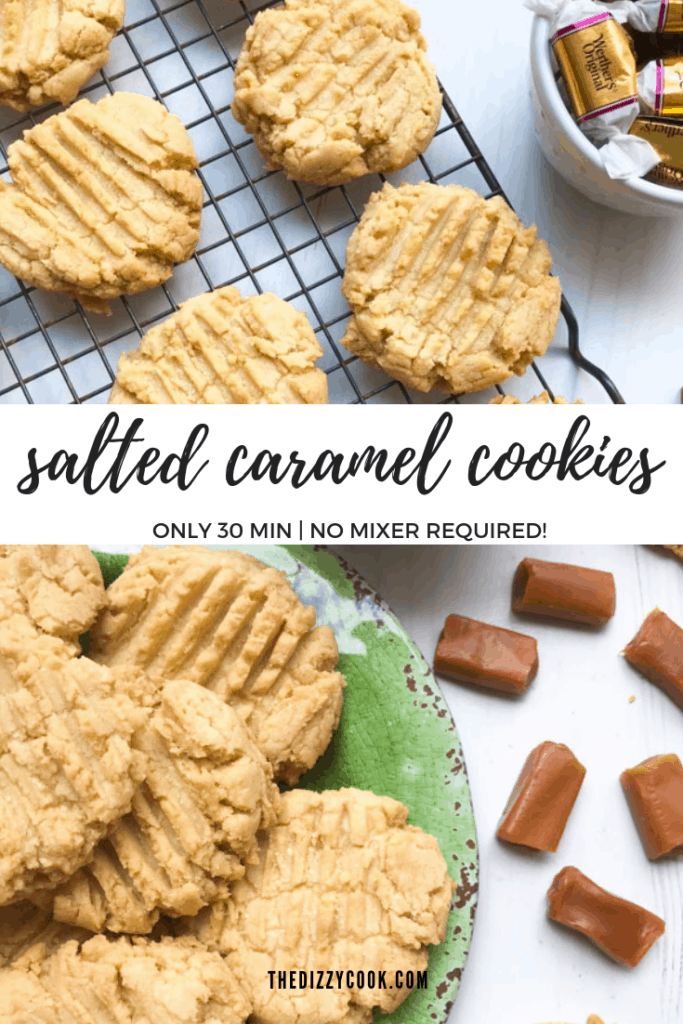 Salty, sweet, and savory, these salted caramel cookies are a dream and don't even require a mixer! Ready in just 30 minutes. #cookies #saltedcaramel #quickcookies #sweettreats