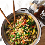 Got leftover vegetables? This veggie fried rice is perfect for using leftovers. Made soy free with clean ingredients, it's the best healthy and tasty version of fried rice. #vegetablefriedrice #easymeal #vegetarian #plantbased