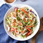 Peanut and nut free, this Thai Vegan Noodle Salad with Sunflower Dressing is the perfect cool salad on a hot day. Loaded with veggies and tossed in a creamy sunflower seed butter sauce, it's a fresh take on takeout. #thainoodle #peanutfree #soyfree #allergyfriendly