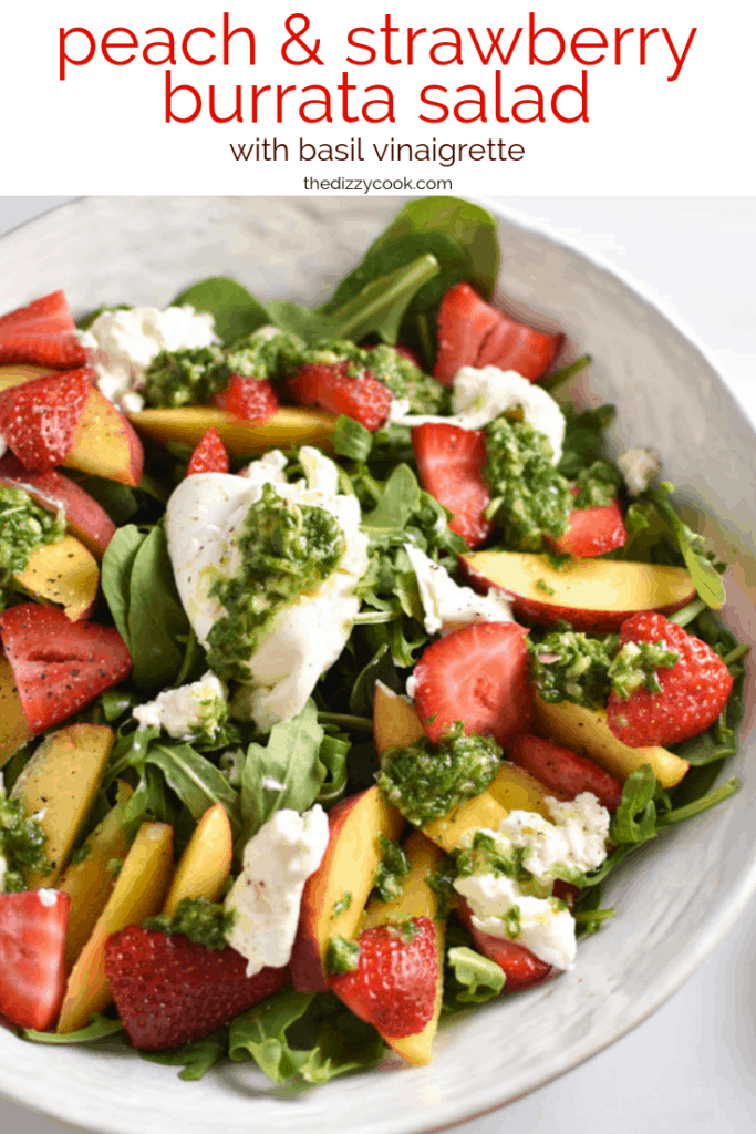 The perfect summer salad - strawberries, juicy peaches, and creamy burrata all combine with arugula and a fresh basil vinaigrette for a delicious salad for a cookout or 4th of July. #salad #summersalad #peach #strawberry #burrata #easysalad