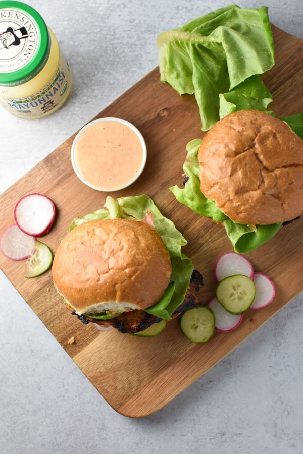Top shot of honey chipotle chicken sandwiches with spicy mayonnaise