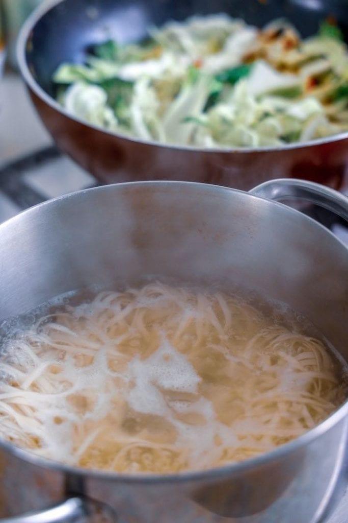 Fettuccine pasta in boiling water
