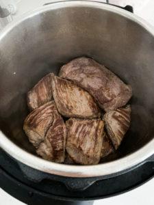 Seared flank steak in an instant pot