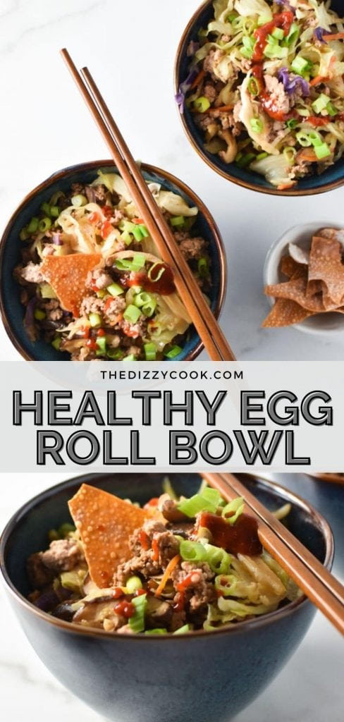 Two healthy egg roll bowls topped with sriracha and wonton strips with chopsticks