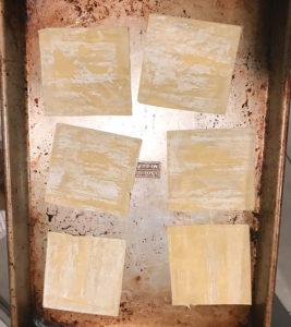 wonton chips on a sheet pan