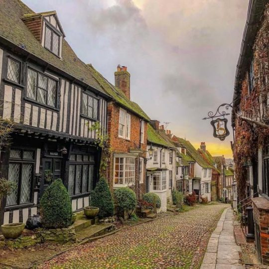 A street in Rye with the sun setting