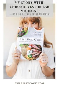 A girl holding The Dizzy Cook Cookbook