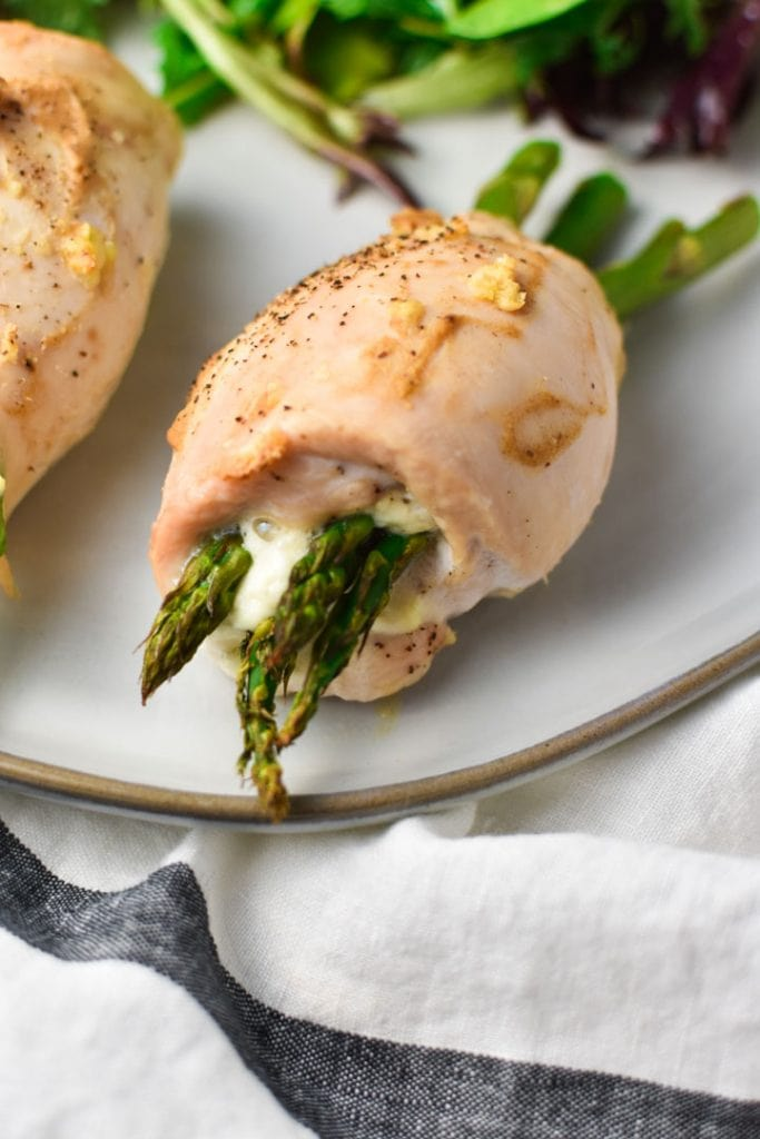 A thin chicken breast that's rolled with Boursin cheese and asparagus