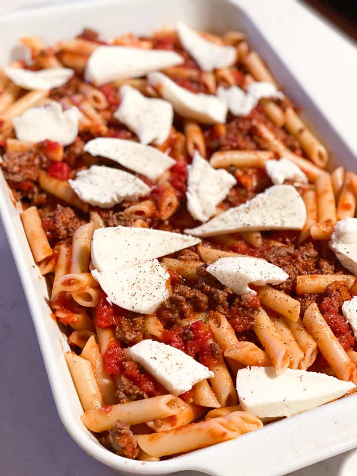 A casserole of lazy lasagna before being baked