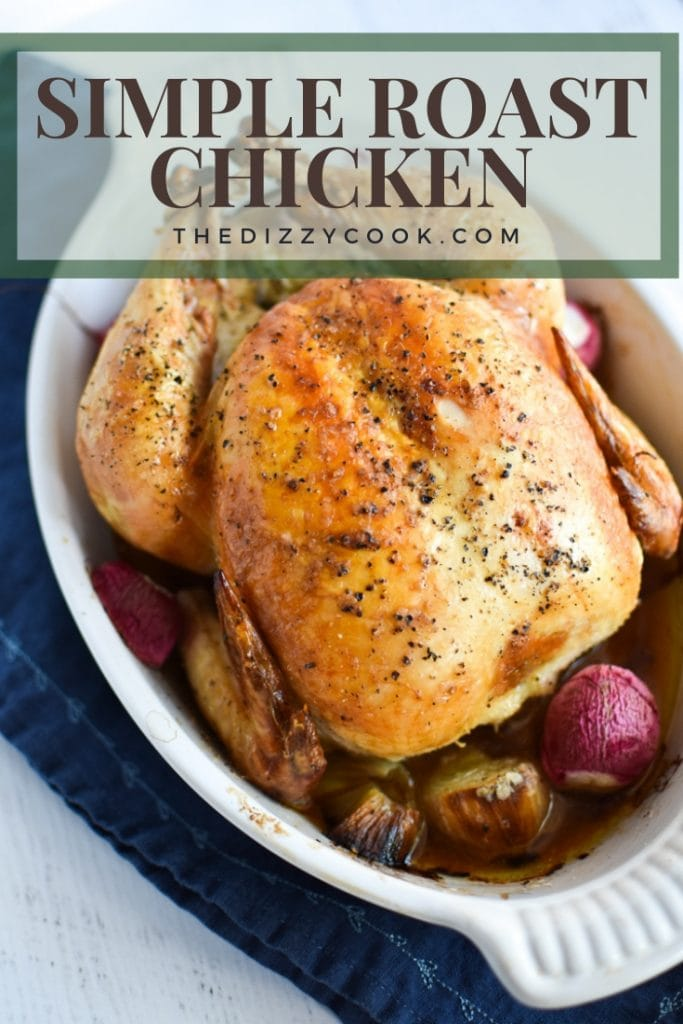 Simple roasted chicken in white dish