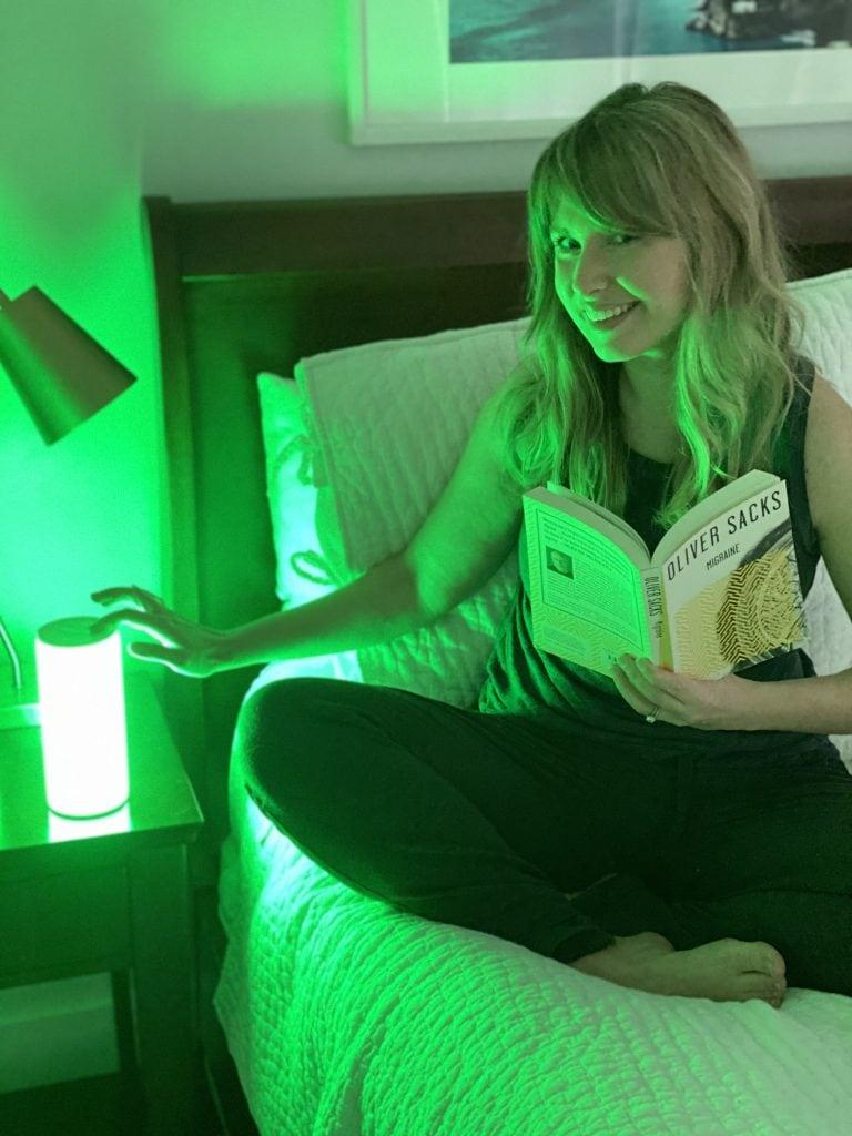 A woman with an allay lamp