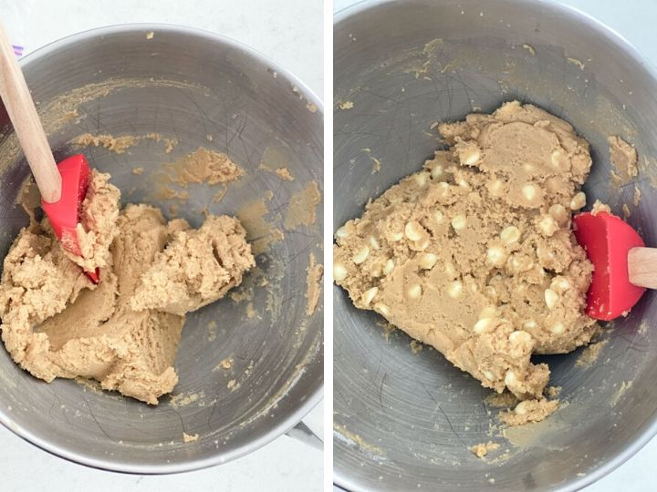 Cookie dough being mixed with a spatula and then a shot of the white chocolate chips being added