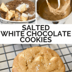 Two process shots of mixing cookie batter and a final shot of a white chocolate chip cookie with sea salt on top