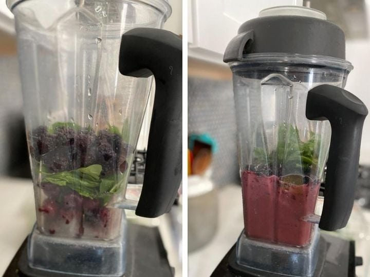Two photos of ingredients for a blackberry smoothie being blended in a Vitamix