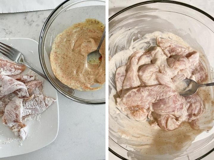 Chicken tenders in flour and then dipped into a mayonnaise and mustard mixture
