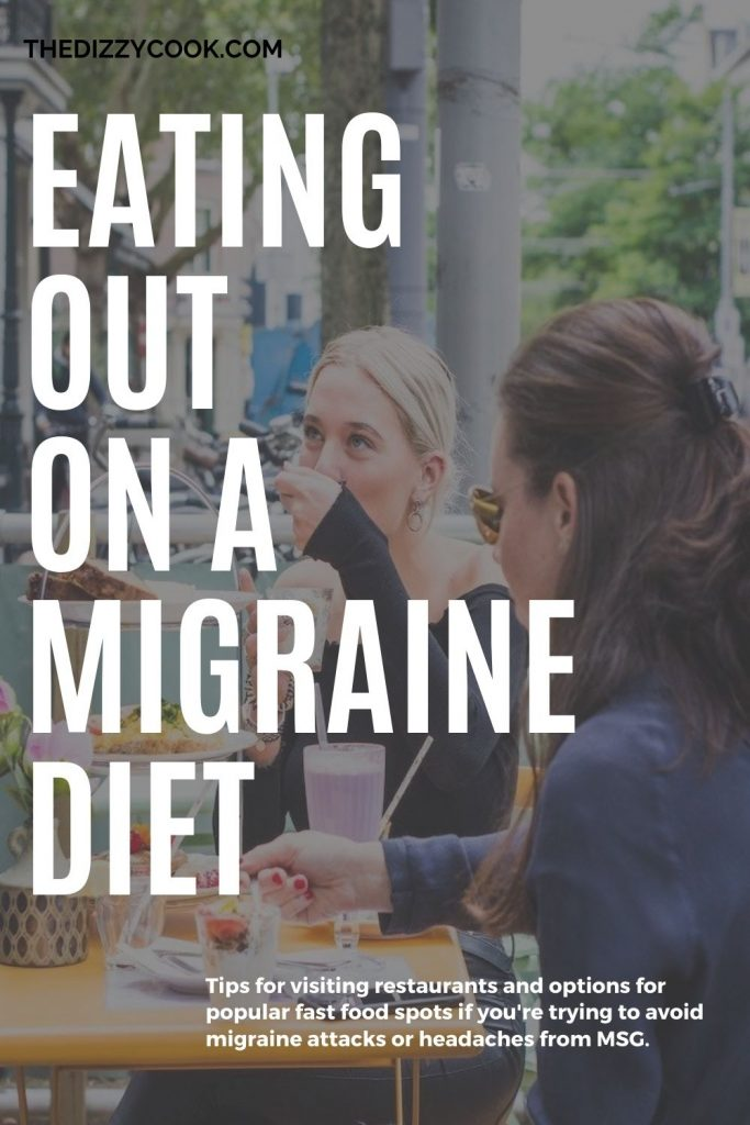 Two women eating out with migraine diet modifications