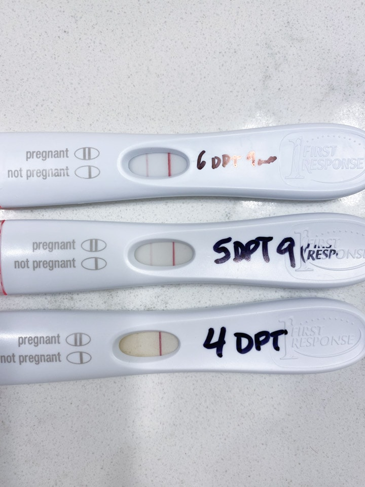 Three positive pregnancy tests after an IVF frozen embryo transfer (FET)