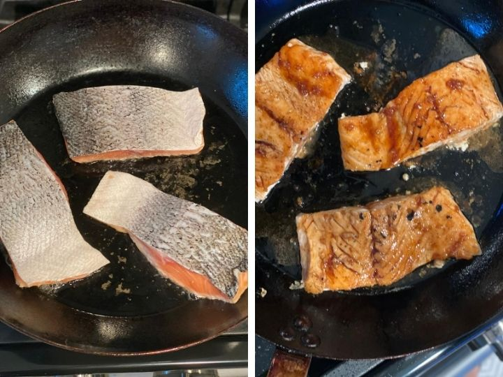 Two photos of salmon being seared and then topped with an Asian glaze sauce