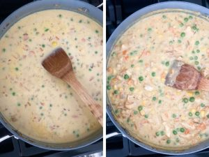 Two instructional photos of the chicken pot pie filling being thickened in a pan