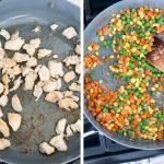 Chicken and vegetables being cooked in a large pan