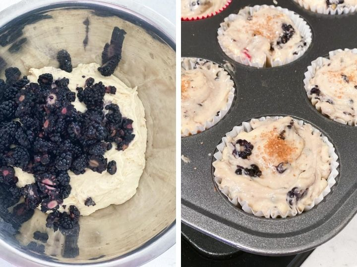 Blackberries being stirred into muffin batter and poured into a muffin tin
