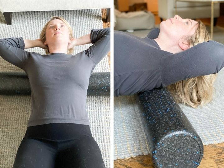 A woman showing two upper body foam rolling techniques for migraine attacks