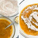 Mixing wet pumpkin ingredients into the dry ingredients for pumpkin bread