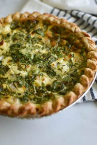 A baked spinach and goat cheese quiche