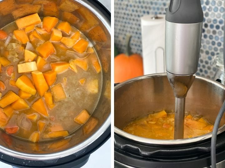 Butternut squash soup being blended with an immersion blender in the instant pot