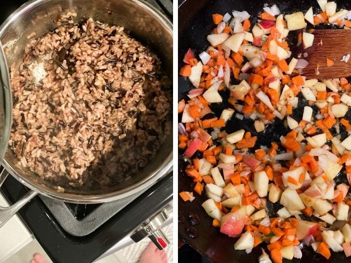 Cooking wild rice in a pot and vegetables in another pan