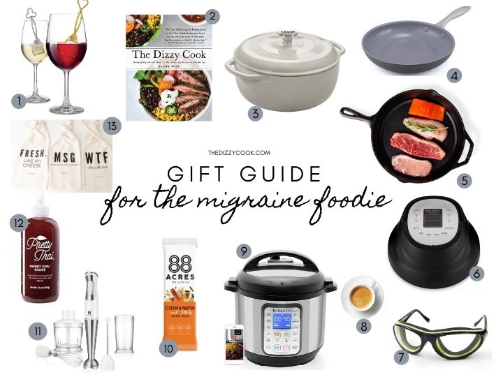 Gift guide for migraine sufferers with pics of what is helpful for cooking