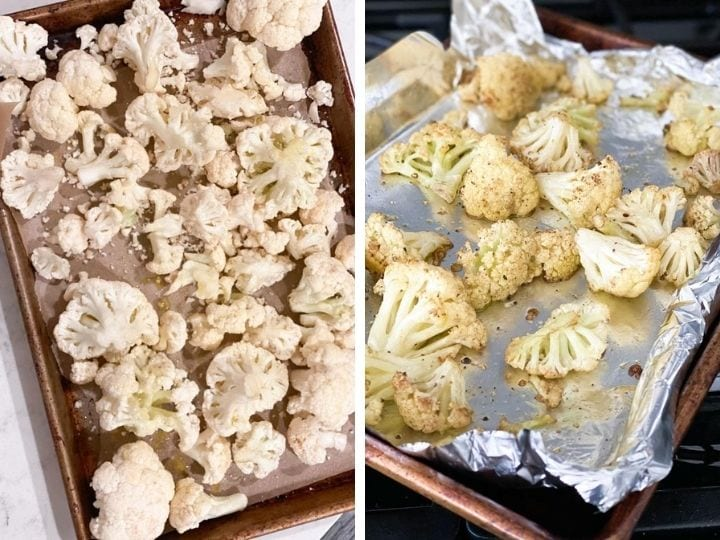 Cauliflower being roasted on a sheet pan - before and after baking