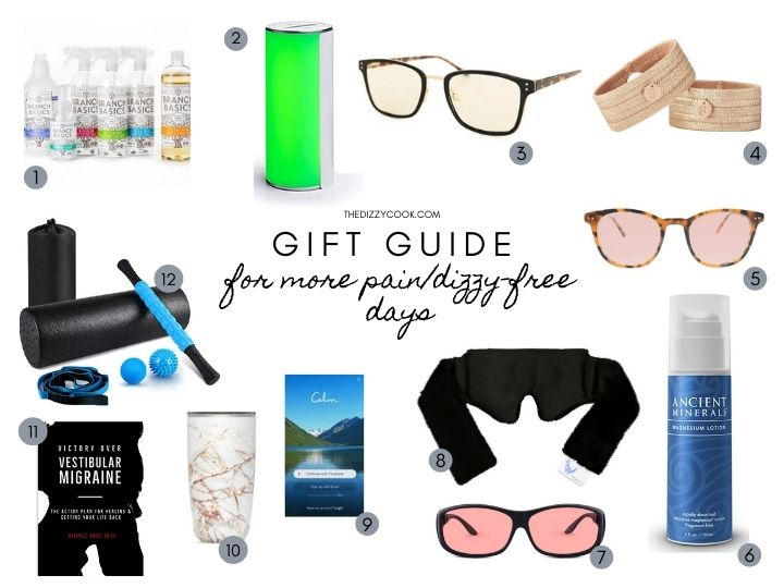Gift guide for migraine sufferers with pics of what is helpful for migraine and vertigo attacks