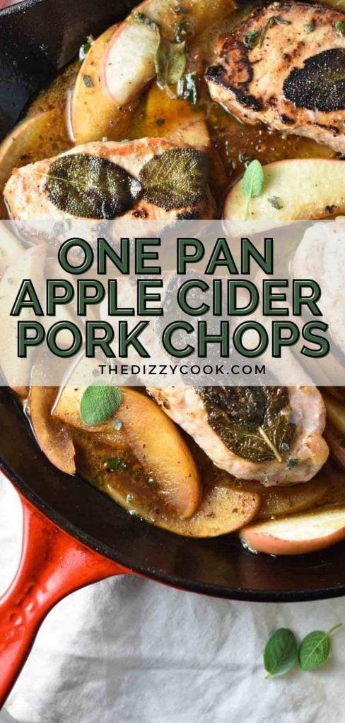 Apple cider and sage pork chops in a cast iron pan