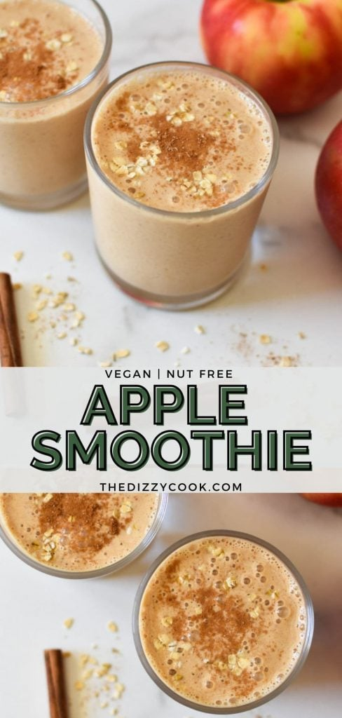 Two apple smoothies dusted with cinnamon and oats on a marble table