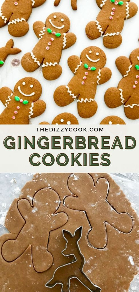 Classic gingerbread cookies decorated with icing and rolled out dough