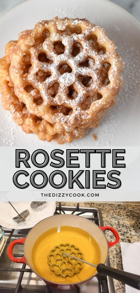 Stacked rosette cookies on a white plate with holly