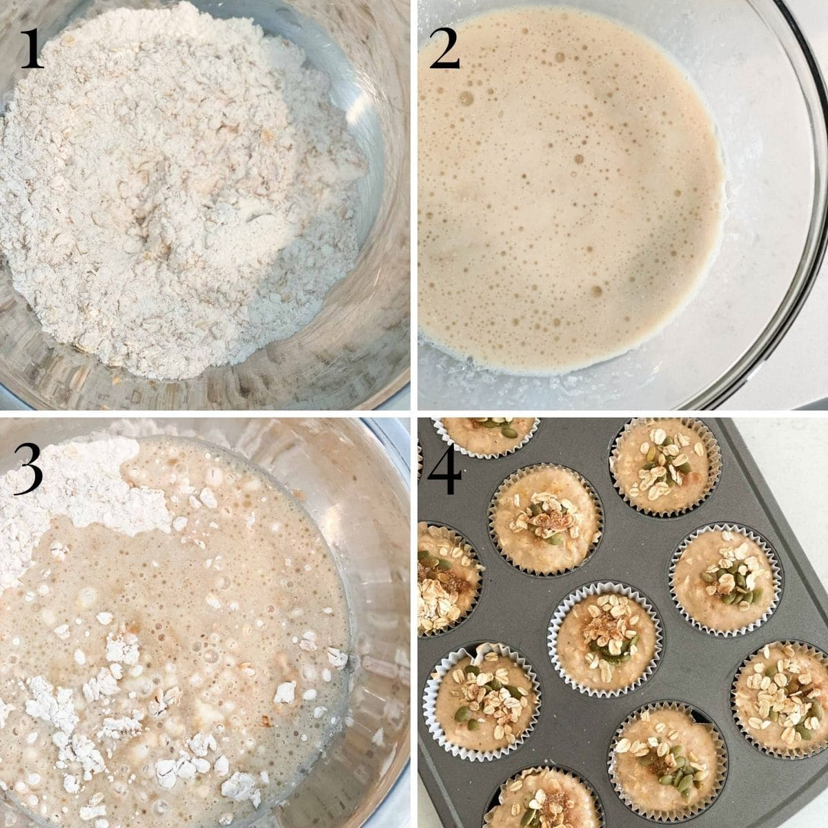 A step by step process of baking muffins, from mixing ingredients to filling the muffin tin