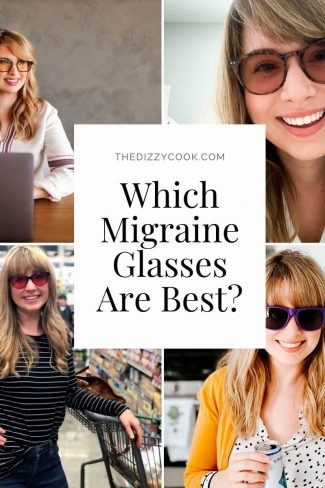 4 pictures of a girl in different types of migraine glasses