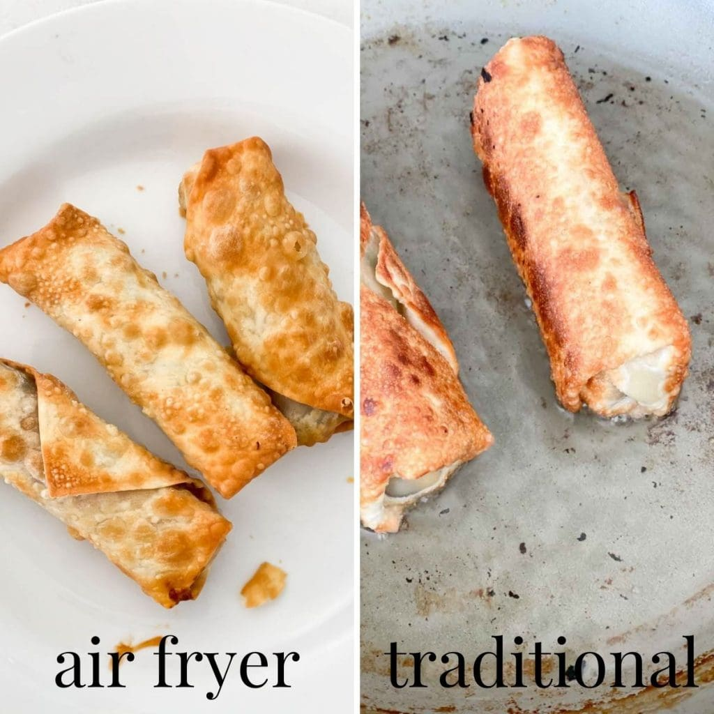 Air fried egg rolls being compared to a traditional fried egg roll