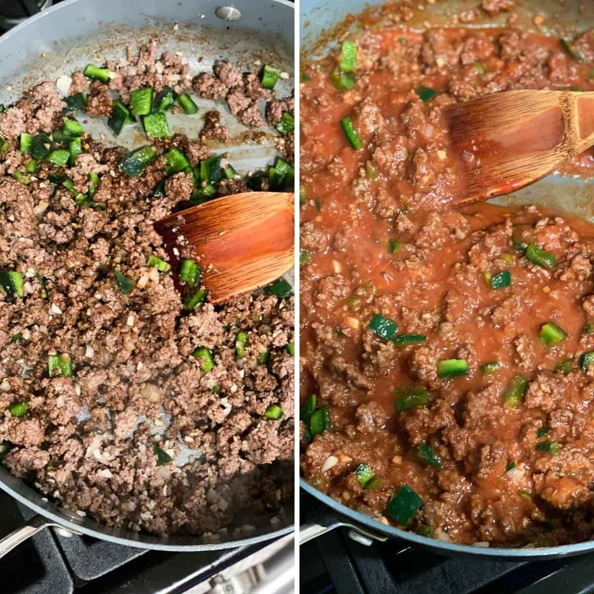 Cooking ground beef and poblano peppers in a pan and then adding tomato sauce
