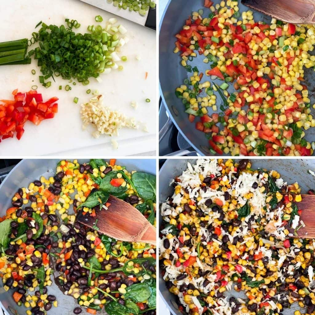 Chopping vegetables for egg roll filling, cooking them in a pan, mixing in spinach, and then cheese