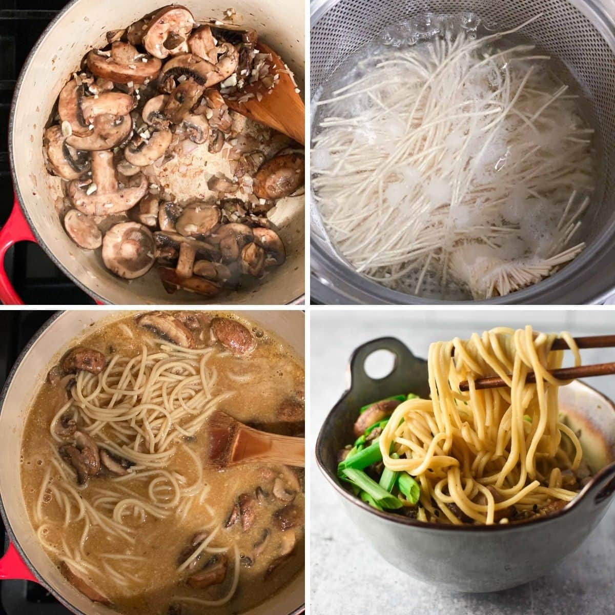 A 4 step process photo of cooking mushrooms, boiling ramen noodles, mixing in broth, and adding noodles