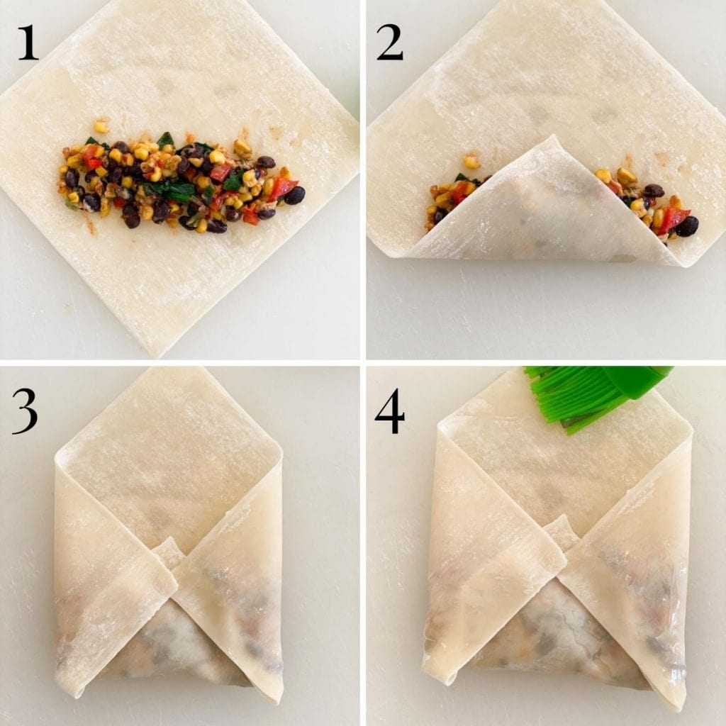 Four images showing how to roll an egg roll with southwestern filling