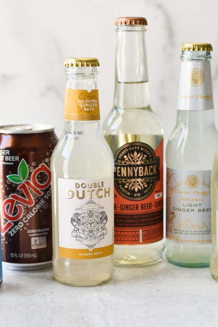 A line up of six different types of ginger beer - regatta, zevia, double dutch, pennyback, and fever tree