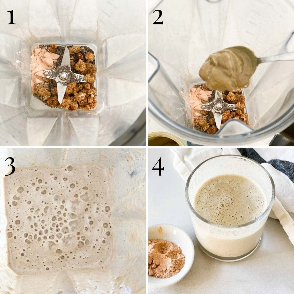 A step by step process of adding seeds to a smoothie and then blending