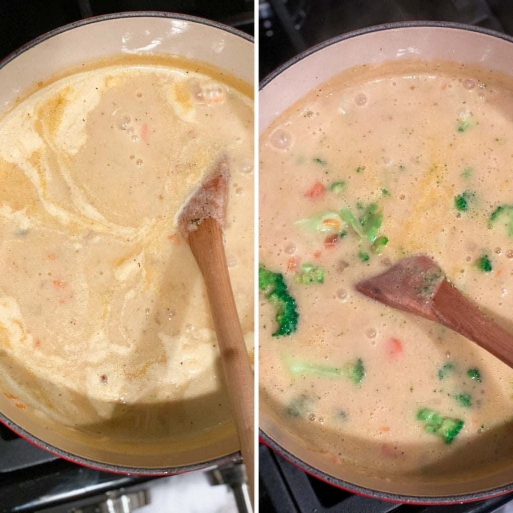 Stirring in broth, milk, and broccoli into a broccoli cheese soup