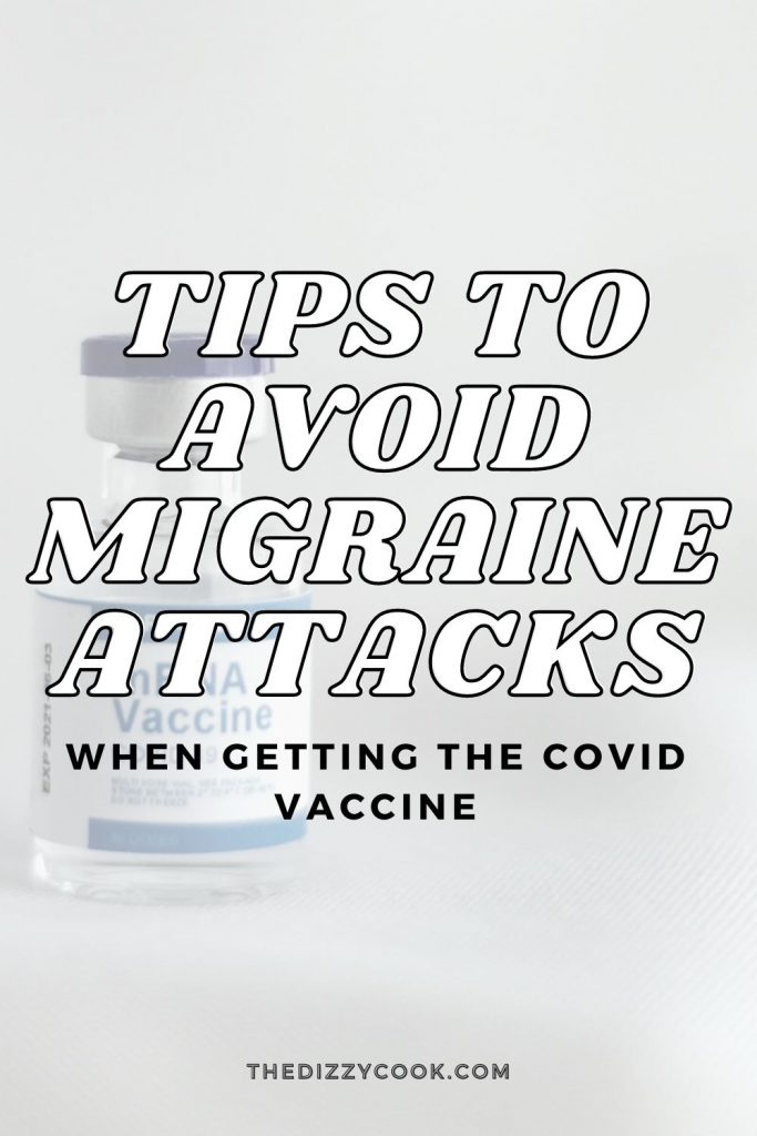 "A vial of the COVID vaccine and words that read ""tips to avoid migraine attacks when getting the covid vaccine"""