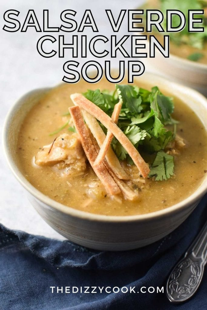 A bowl of chicken soup topped with cilantro and tortilla strips with a spoon on a grey table