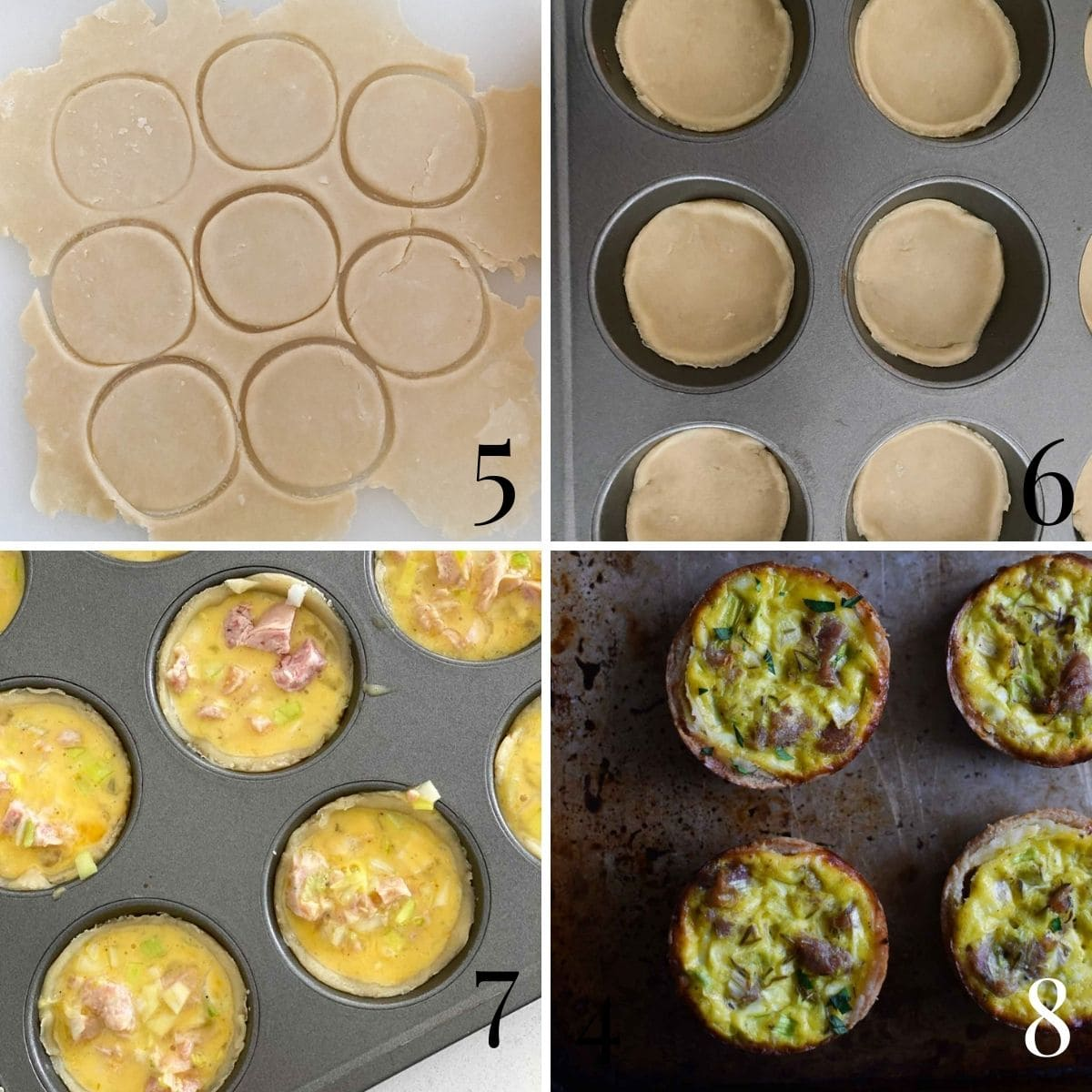 A step by step process shot of cutting quiche dough, fitting it into a muffin tin, pouring in the egg filling, and the baked final product